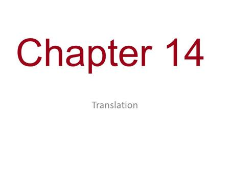 Chapter 14 Translation. You Must Know How genetic material is translated into polypeptides.