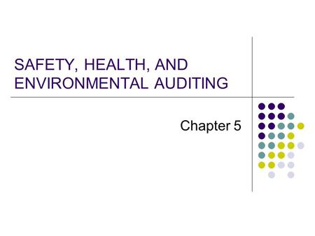 SAFETY, HEALTH, AND ENVIRONMENTAL AUDITING
