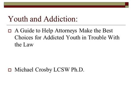Youth and Addiction:  A Guide to Help Attorneys Make the Best Choices for Addicted Youth in Trouble With the Law  Michael Crosby LCSW Ph.D.
