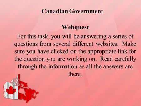 Canadian Government Webquest