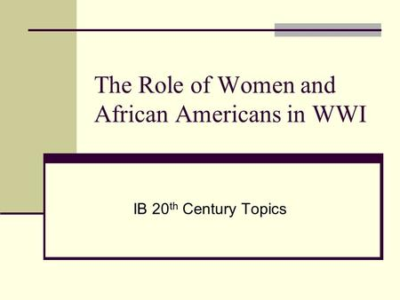 the role of american women from