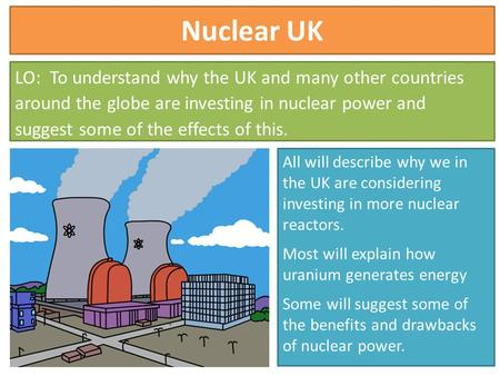 Nuclear UK LO: To understand why the UK and many other countries around the globe are investing in nuclear power and suggest some of the effects of this.