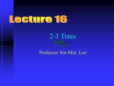 2-3 Trees Professor Sin-Min Lee. Contents n Introduction n The 2-3 Trees Rules n The Advantage of 2-3 Trees n Searching For an Item in a 2-3 Tree n Inserting.