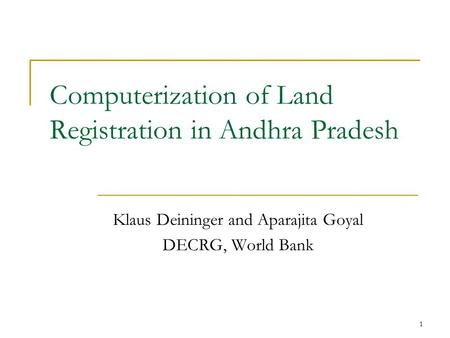 Computerization of Land Registration in Andhra Pradesh