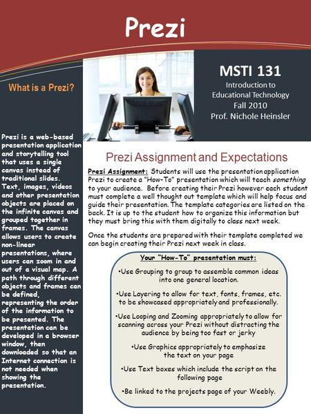 Prezi Prezi Assignment and Expectations MSTI 131 Introduction to Educational Technology Fall 2010 Prof. Nichole Heinsler What is a Prezi? Prezi is a web-based.