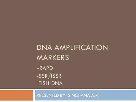 DNA AMPLIFICATION MARKERS - RAPD -SSR/ISSR -FISH-DNA PRESENTED BY- SINCHANA A.R.