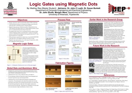 Logic Gates using Magnetic Dots By: Madhav Rao (Master Student) Advisors: Dr. John C Lusth, Dr. Susan Burkett Department of Computer Engineering and Electrical.