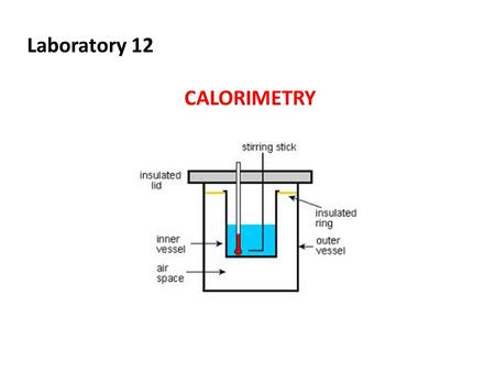 Laboratory 12 CALORIMETRY. Objectives 1.Construct and utilize a coffee cup calorimeter to measure heat changes 2.Determine the heat capacity of a calorimeter.