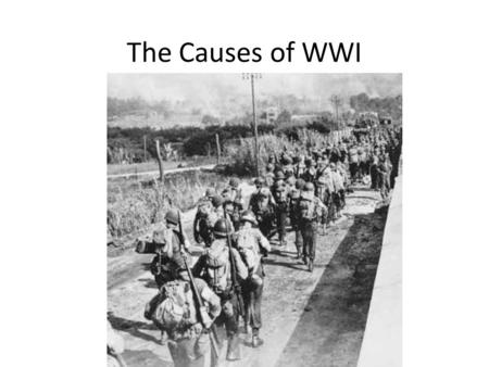 The Causes of WWI.