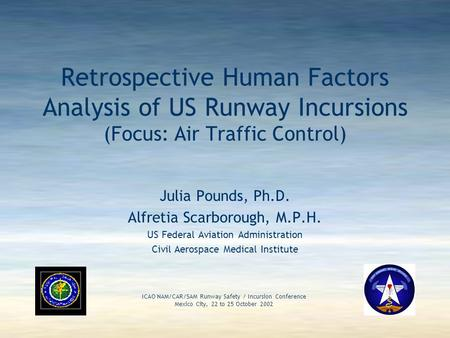 24 October 2002 ICAO NAM/CAR/SAM RUNWAY SAFETY/INCURSION CONFERENCE 1 Retrospective Human Factors Analysis of US Runway Incursions (Focus: Air Traffic.