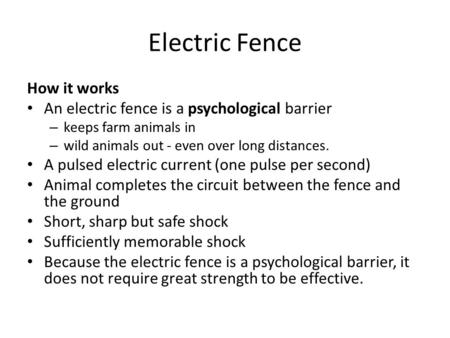 Electric Fence How it works