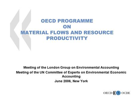 1 OECD PROGRAMME ON MATERIAL FLOWS AND RESOURCE PRODUCTIVITY Meeting of the London Group on Environmental Accounting Meeting of the UN Committee of Experts.