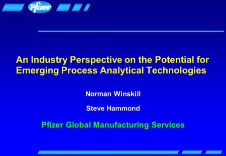 An Industry Perspective on the Potential for Emerging Process Analytical Technologies Norman Winskill Steve Hammond Pfizer Global Manufacturing Services.