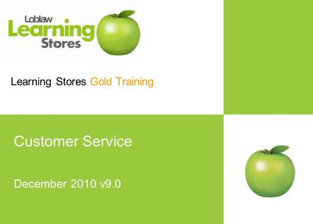 Learning Stores Template 7June07.ppt Learning Stores Gold Training Customer Service December 2010 v9.0.