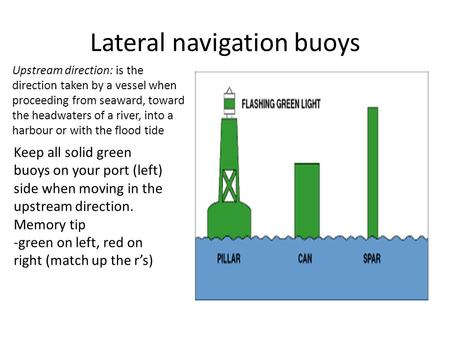 Lateral navigation buoys Upstream direction: is the direction taken by a vessel when proceeding from seaward, toward the headwaters of a river, into a.