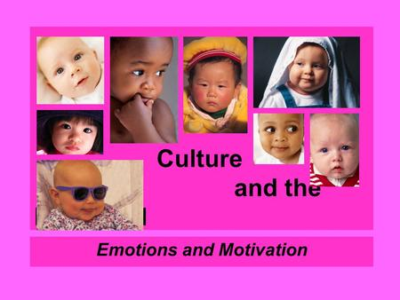 Culture and the Individual Emotions and Motivation.