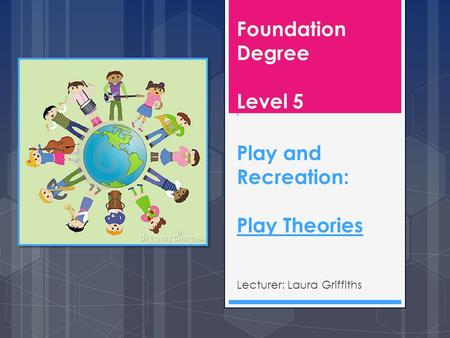Foundation Degree Level 5 b Play and Recreation: Play Theories