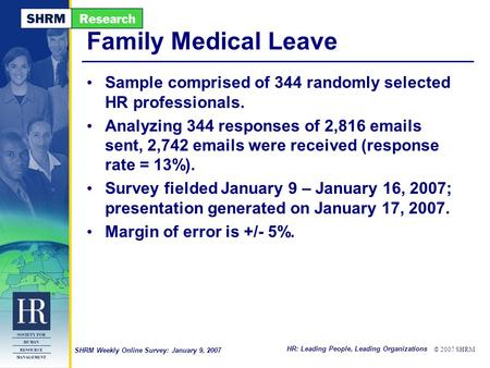 HR: Leading People, Leading Organizations © 2007 SHRM SHRM Weekly Online Survey: January 9, 2007 Family Medical Leave Sample comprised of 344 randomly.