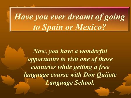Have you ever dreamt of going to Spain or Mexico? Now, you have a wonderful opportunity to visit one of those countries while getting a free language course.