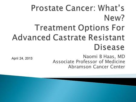 Prostate Cancer: What's New