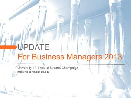 UPDATE For Business Managers 2013  University of Illinois at Urbana-Champaign.