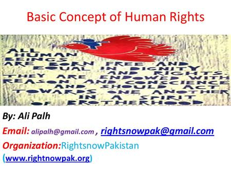 Basic Concept of Human Rights hH Human Rights For All By: Ali Palh    Organization:RightsnowPakistan.