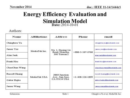 Submission doc.: IEEE 11-14/1444r1 November 2014 Chinghwa Yu et al, MediaTek Inc.Slide 1 Energy Efficiency Evaluation and Simulation Model Date: 2014-10-01.