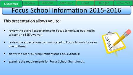 Previous Year Four Overview Grant Budget Resources This presentation allows you to:  review the overall expectations for Focus Schools, as outlined in.