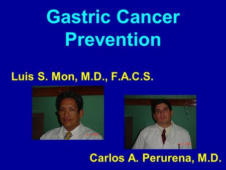 Gastric Cancer Prevention Luis S. Mon, M.D., F.A.C.S. Carlos A. Perurena, M.D.