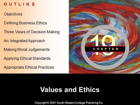 Learning Objective Chapter 19 Values and Ethics Copyright © 2001 South-Western College Publishing Co. Objectives O U T L I N E Defining Business Ethics.