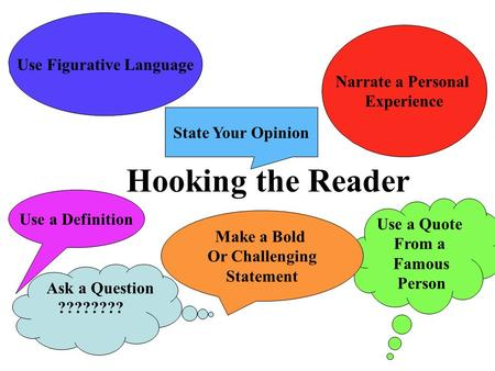 Hooking the Reader Ask a Question ???????? Use Figurative Language Narrate a Personal Experience Use a Quote From a Famous Person State Your Opinion Use.