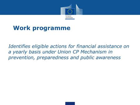 Work programme Identifies eligible actions for financial assistance on a yearly basis under Union CP Mechanism in prevention, preparedness and public awareness.