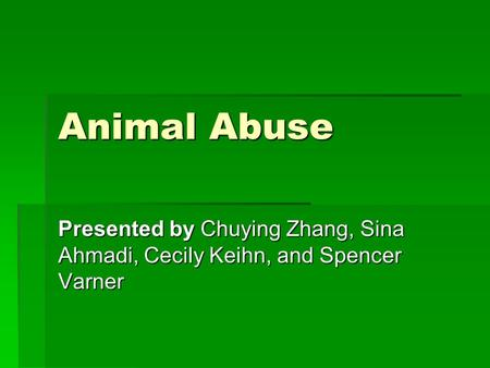 Animal Abuse Presented by Chuying Zhang, Sina Ahmadi, Cecily Keihn, and Spencer Varner.