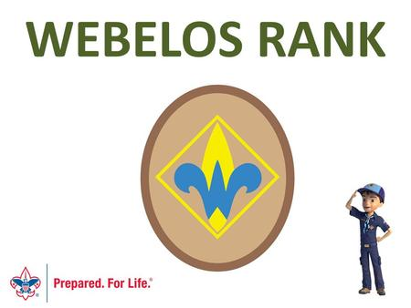 WEBELOS RANK. Webelos - Objectives By the end of the session, you will… Understand and be able to communicate to others the updated requirements for the.