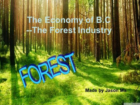 The Economy of B.C --The Forest Industry Made by Jason Ma.