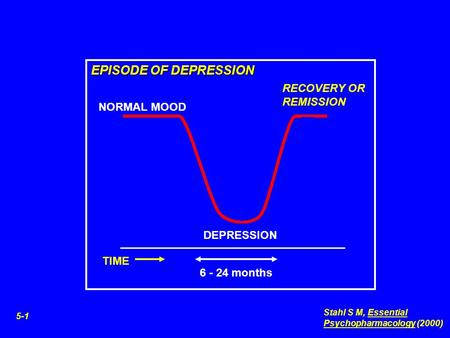 DEPRESSION NORMAL MOOD RECOVERY OR REMISSION EPISODE OF DEPRESSION TIME 6 - 24 months 5-1 Stahl S M, Essential Psychopharmacology (2000)