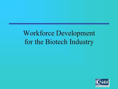 Workforce Development for the Biotech Industry. Workforce Development National Level State Level Corporate Level Current Programs Future Requirements.