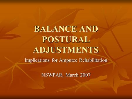 BALANCE AND POSTURAL ADJUSTMENTS Implications for Amputee Rehabilitation NSWPAR, March 2007.
