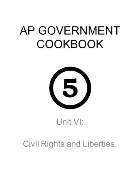 AP GOVERNMENT COOKBOOK Unit VI: Civil Rights and Liberties.