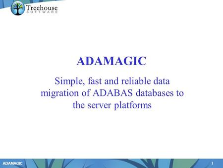 1 ADAMAGIC Simple, fast and reliable data migration of ADABAS databases to the server platforms.