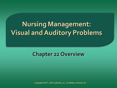 Nursing Management: Visual and Auditory Problems