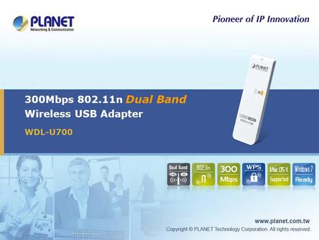 300Mbps 802.11n Dual Band Wireless USB Adapter WDL-U700.