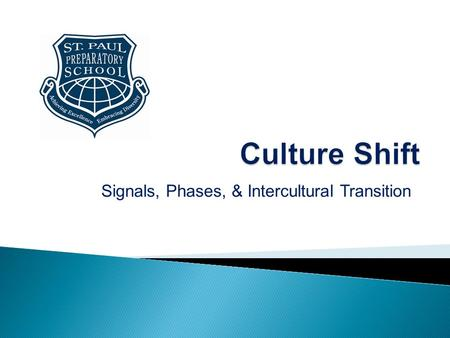 "Signals, Phases, & Intercultural Transition.  More commonly referred to as ""culture shock"", culture shift is the physical and emotional discomfort experienced."