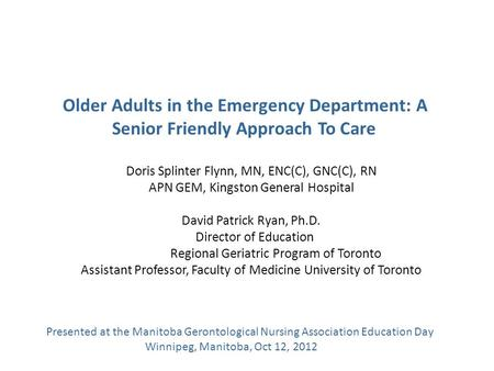 Older Adults in the Emergency Department: A