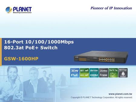 16-Port 10/100/1000Mbps 802.3at PoE+ Switch GSW-1600HP.