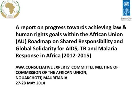 A report on progress towards achieving law & human rights goals within the African Union (AU) Roadmap on Shared Responsibility and Global Solidarity for.