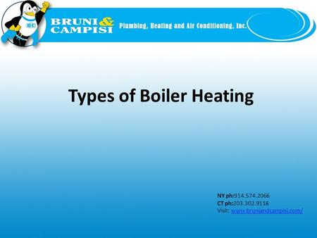 NY ph:914.574.2066 CT ph:203.302.9118 Visit: www.bruniandcampisi.com/www.bruniandcampisi.com/ Types of Boiler Heating.