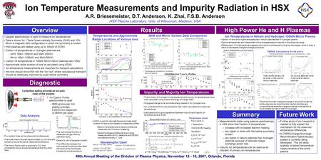 49th Annual Meeting of the Division of Plasma Physics, November 12 - 16, 2007, Orlando, Florida Ion Temperature Measurements and Impurity Radiation in.