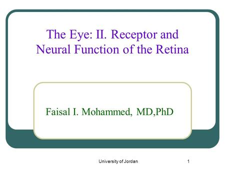 The Eye: II. Receptor and Neural Function of the Retina
