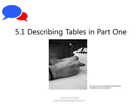 ©2015 Paul Read  5.1 Describing Tables in Part One  7331669/sizes/z/in/photostream/